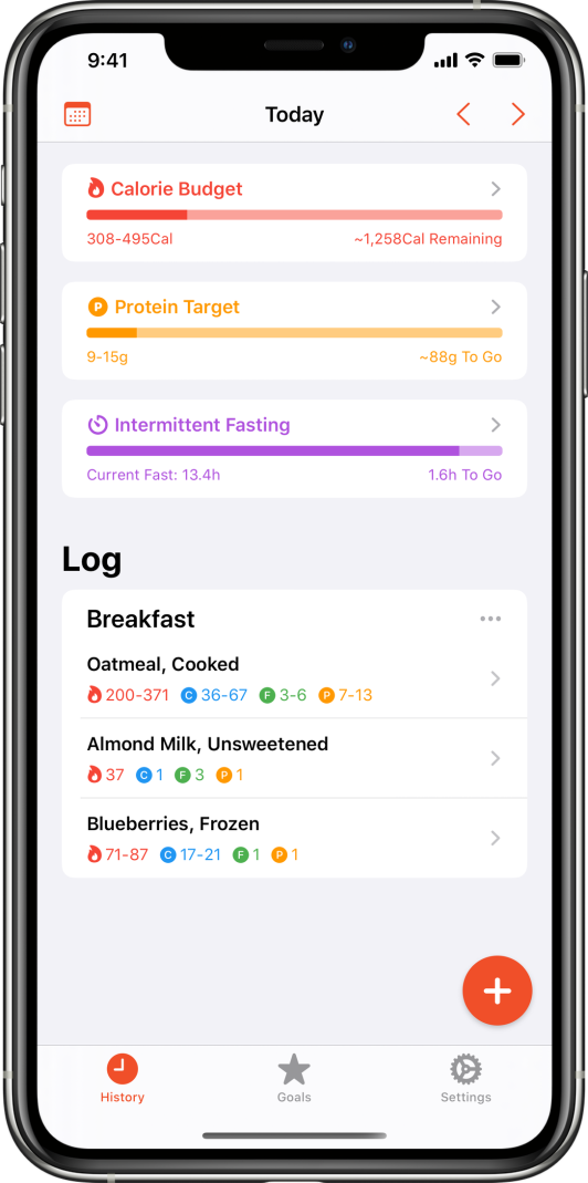 Screenshot of the main view including a list of food logged today and a section for the current status on several configured goals